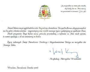 Jego Ekscelencja Ks Arcybiskup Józef Kupny Metropolita Wrocławski